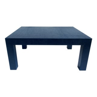 Vintage Linen-Wrapped Navy Blue Lacquered Parsons Style Cocktail Table, Manner of Karl Springer For Sale