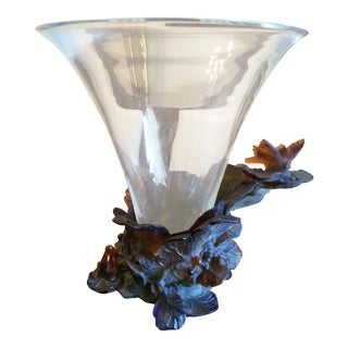 Daum France Butterfly Vase For Sale