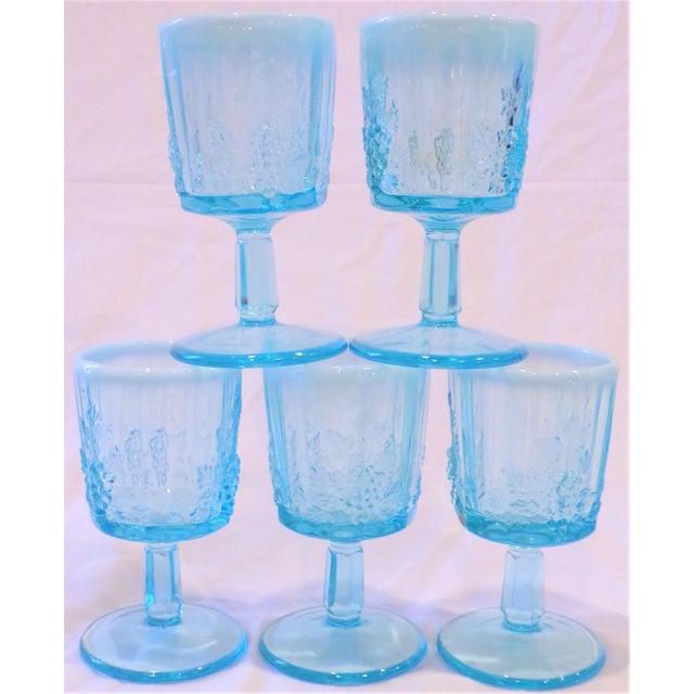 Glass Vintage Opaline Tiffany Blue Wine Glasses - Set of 5 For Sale - Image 7 of 9