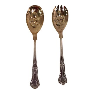 Gold Wash Silver Plate Salad Servers - A Pair For Sale