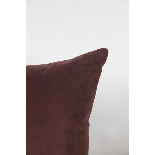 """Pair of luxurious 22"""" Luxe Velvet pillows in plum. Meticulously handcrafted with serged interior seams, invisible zipper..."""