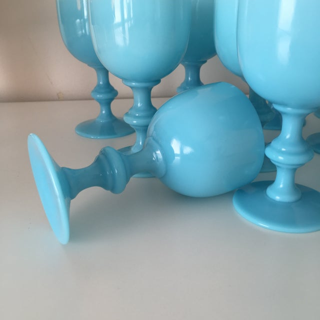 French French Portieux Vallerysthal Blue Opaline Wine Goblets - Set of 12 For Sale - Image 3 of 4