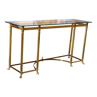 Maison Jansen Style Brass Hoof Footed Console Table