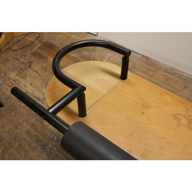 Black Vintage Ettore Sottsass Postmodern Memphis Group Style Steel and Leather Bench For Sale - Image 8 of 13