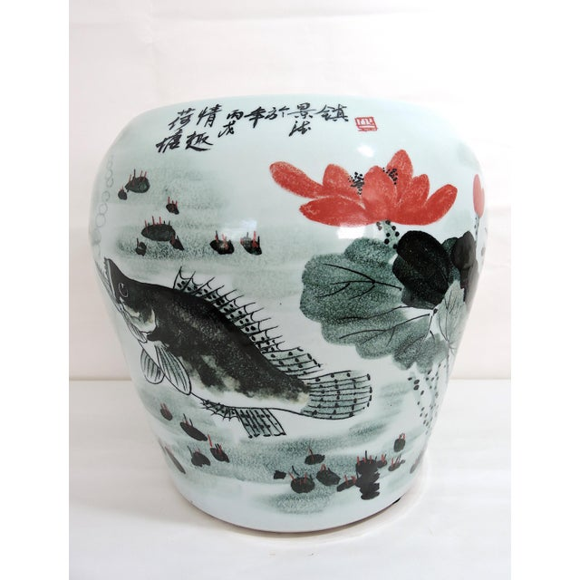 Vintage Fish & Lotus Flower Chinese Ceramic Drum Seat or Garden Stool, Side Table, Pedestal For Sale - Image 4 of 8
