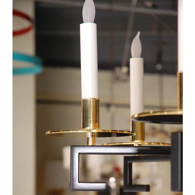 Customizable Paul Marra Design Greek Key Chandelier in Brass - Image 6 of 8