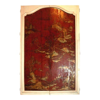 18th Century Mounted Chinoserie Lacquered Doors - a Pair
