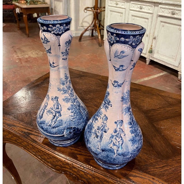 Pair of 19th Century French Delft Style Faience Vases With Blue and White Decor For Sale In Dallas - Image 6 of 13
