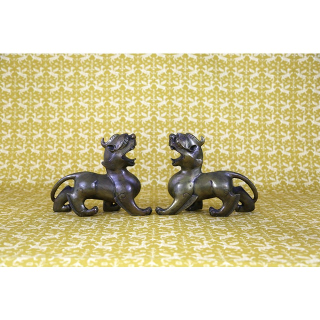 Vintage Brass Foo Dogs - A Pair - Image 7 of 9