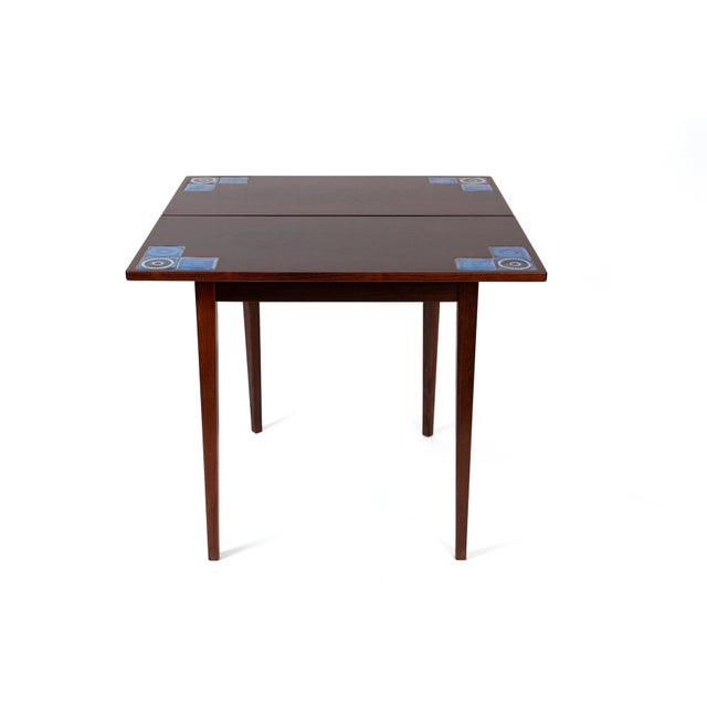 Wood Danish Modern Illums Bolighus Rosewood and Blue Tile Folding Table For Sale - Image 7 of 7