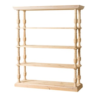 Solid Natural Wood Bookshelf For Sale