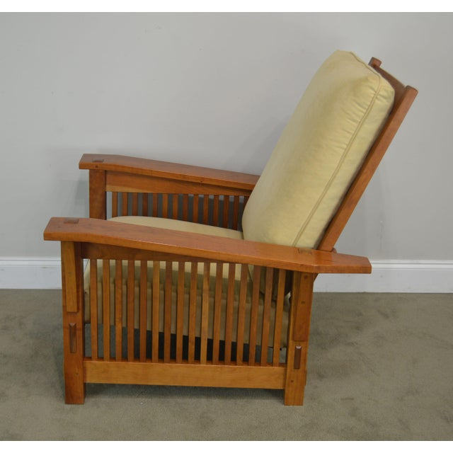 Brown Stickley Mission Collection Cherry Bustle Back Spindle Morris Chair W/ Ottoman For Sale - Image 8 of 13
