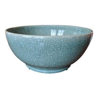 Asian Modern Celadon Crackled Glaze Centerpiece Bowl For Sale