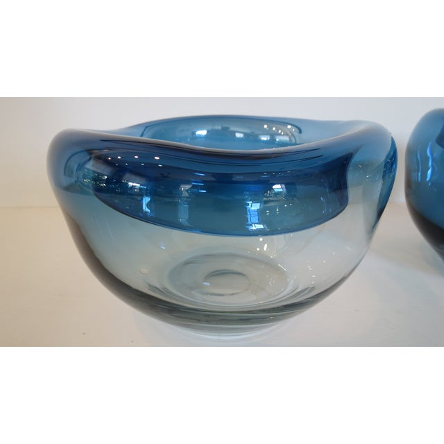 Blue Art Glass Bowls - A Pair - Image 7 of 9
