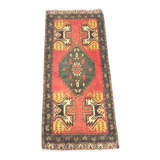 Antique Red Turkish Handmade Wool Rug For Sale