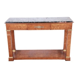 Baker Furniture Burl Wood and Italian Marble Neoclassical Console Table For Sale