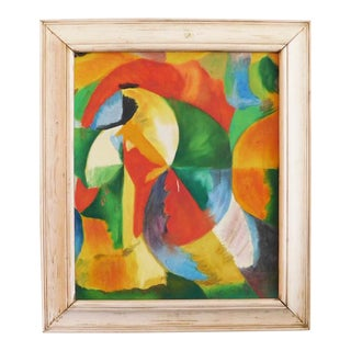 1970s Framed Abstract Green, Orange and Yellow Acrylic Painting