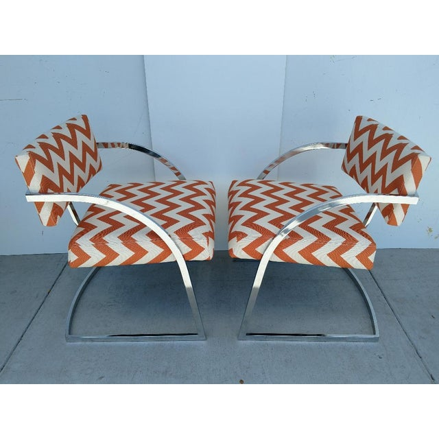 Mid-Century Modern Milo Baughman Newly Upholstered Chrome Armchairs, Vintage - Pair For Sale - Image 3 of 13
