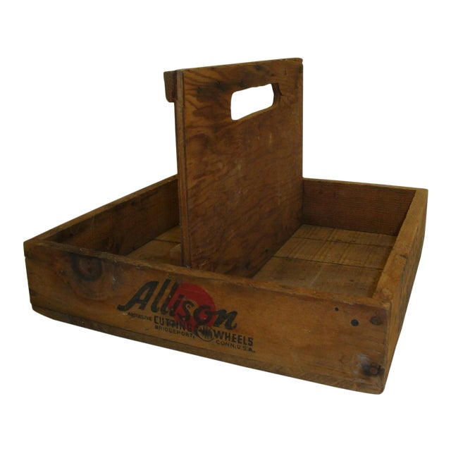 Vintage Rustic Tool Crate Wooden Caddy For Sale