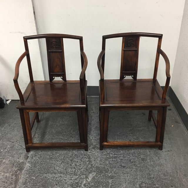 Chinese Rosewood Arm Chairs- A Pair - Image 3 of 9