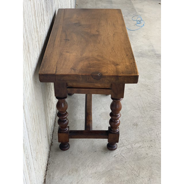Spanish 1890s Walnut Side Table Single Drawer Wit Turned Legs For Sale - Image 11 of 13