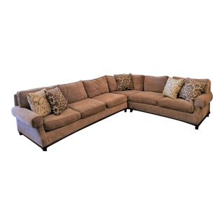 1980's A. Rudin Light Brown Chenille Sectional Sofa - 5 Pillows