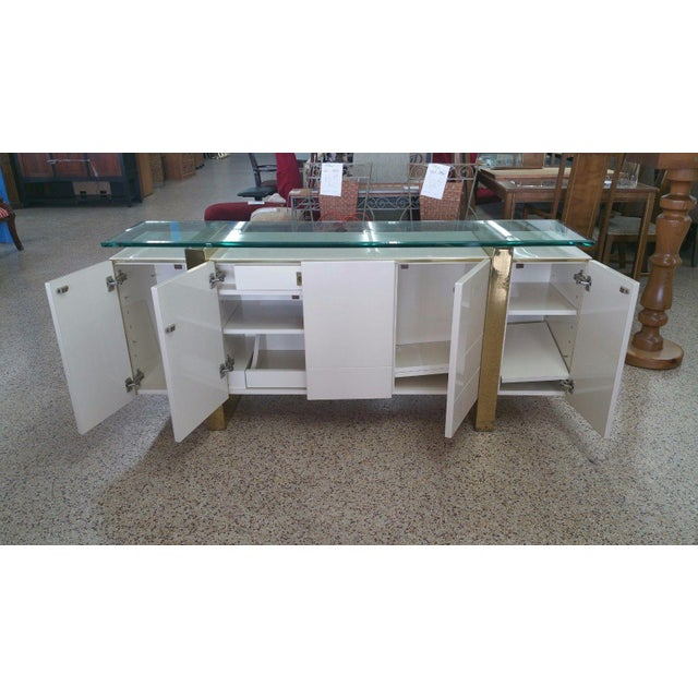 Lacquer & Brass Sideboard Floating Glass Top For Sale - Image 4 of 12