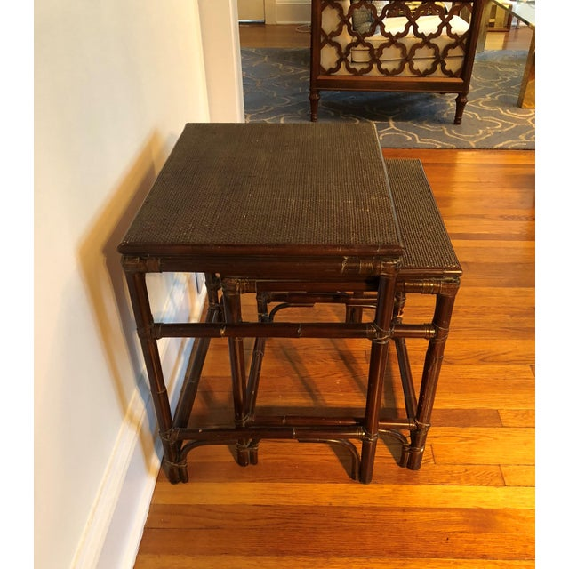 Mid 20th Century Mitchell Gold & Bob Williams Modern Bamboo Rattan Nesting Tables - a Pair For Sale - Image 5 of 7