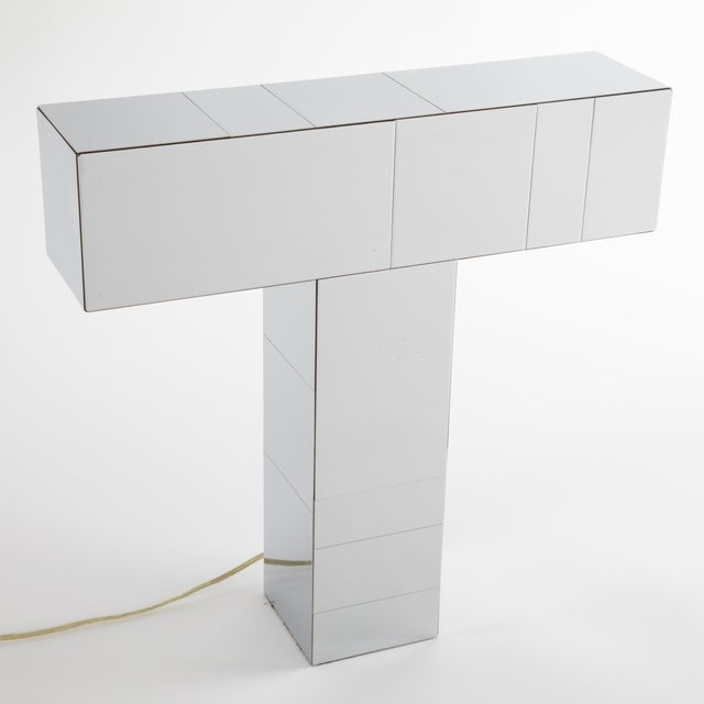 """Chic chrome """"Cityscape"""" table lamp, model PE-4005, designed by Paul Evans circa 1975. This lovely example is executed in..."""
