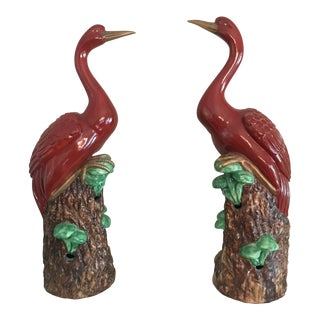 Italian Chelsea House Red Crane Figurines - a Pair