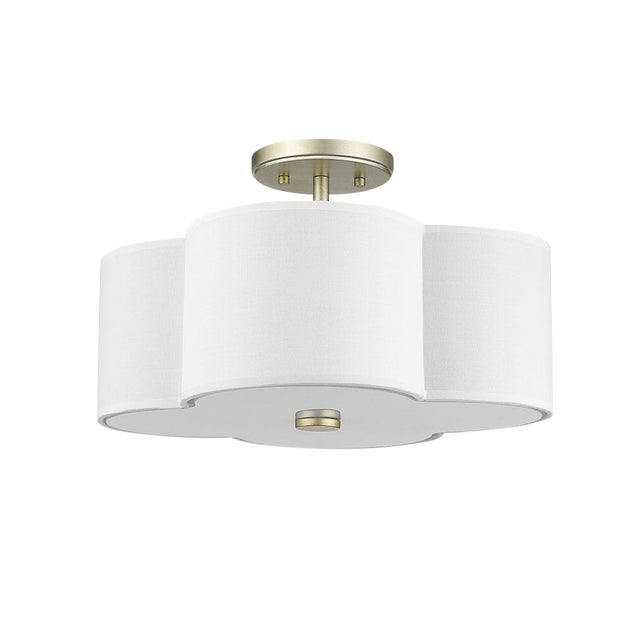 The Quatrefoil 3 Light Semi-Flush Ceiling, Champagne Gold For Sale
