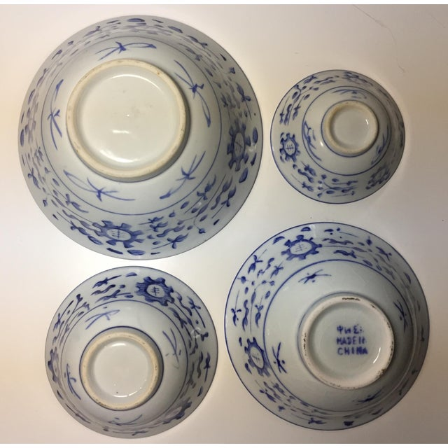 Chinese Blue & White Stacking Bowls - Set of 4 For Sale - Image 4 of 5