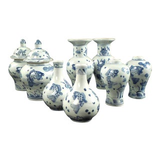 Early 20th Century Antique Blue and White Chinese Vases & Jars - Set of 8 For Sale