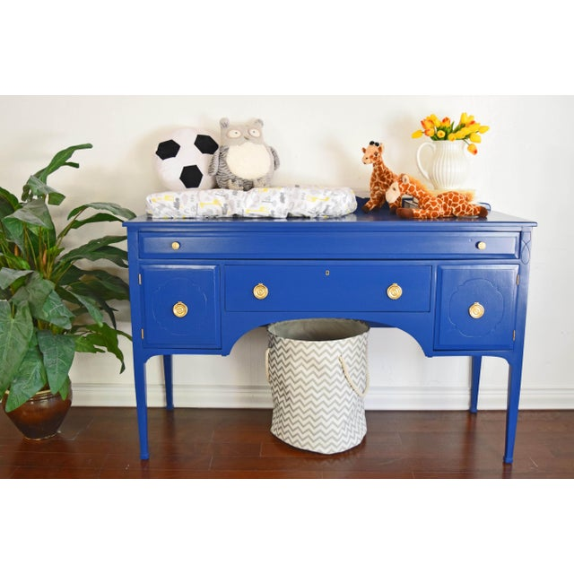 Metal Antique Cherrywood Navy Blue Buffet For Sale - Image 7 of 12