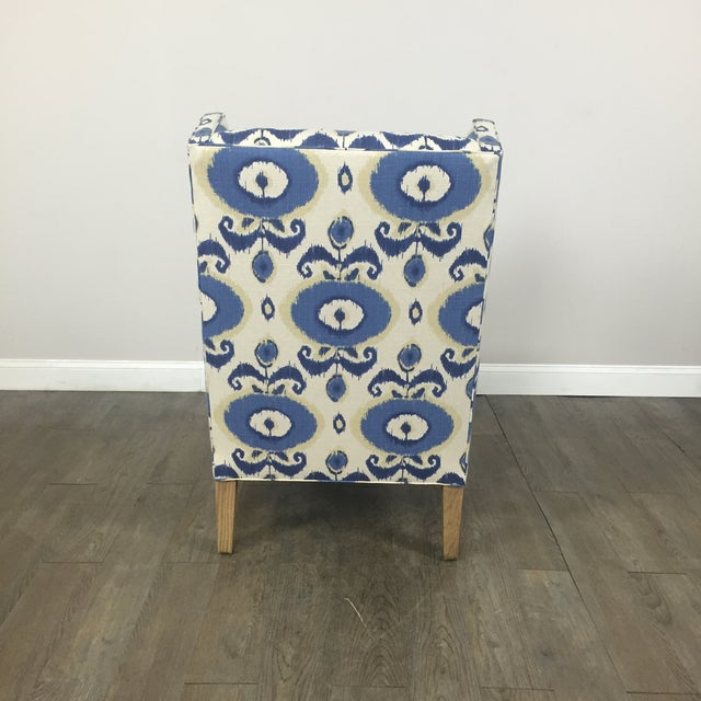 Crate & Barrel Patterned Wingback Chair - Image 8 of 10