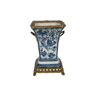 Blue and White Floral Bird Motif Porcelain Square Vase Brass Ormolu Accent For Sale