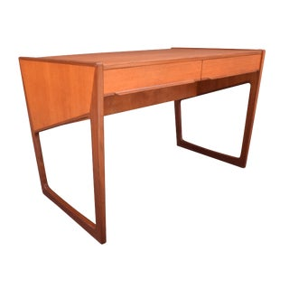 Vintage Danish Mid Century Modern Teak Writing Desk For Sale