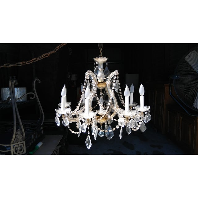 Vintage French Crystal 8 Light Chandelier - Image 2 of 7