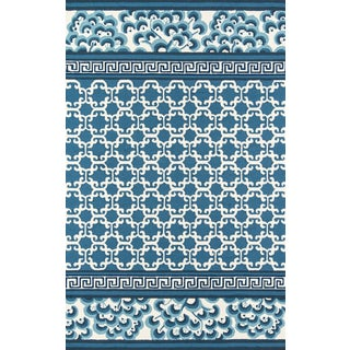 "Madcap Cottage Under a Loggia Montserrat Navy Indoor/Outdoor Area Rug 3'9"" X 5'9"" For Sale"