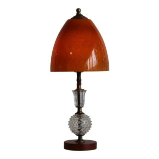 Murano and Hobnail Glass Table Lamp For Sale