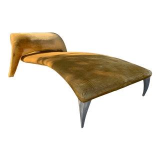 Hollywood Regency Style Dark Mustard Velvet Chaise Lounge For Sale