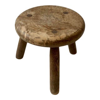 1960s Circular Tripod Maple Stool In the Manner of Charlotte Perriand For Sale
