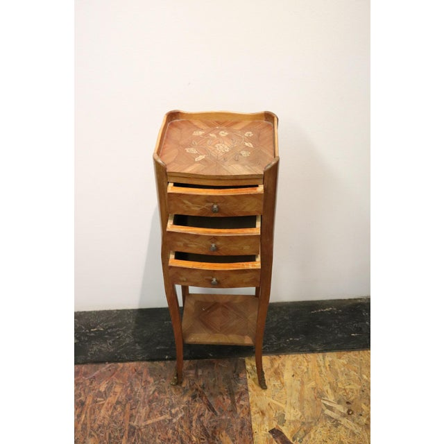 20th Century Italian Louis XV Style Inlay Wood Pair of Side Tables or Nightstand For Sale - Image 10 of 13