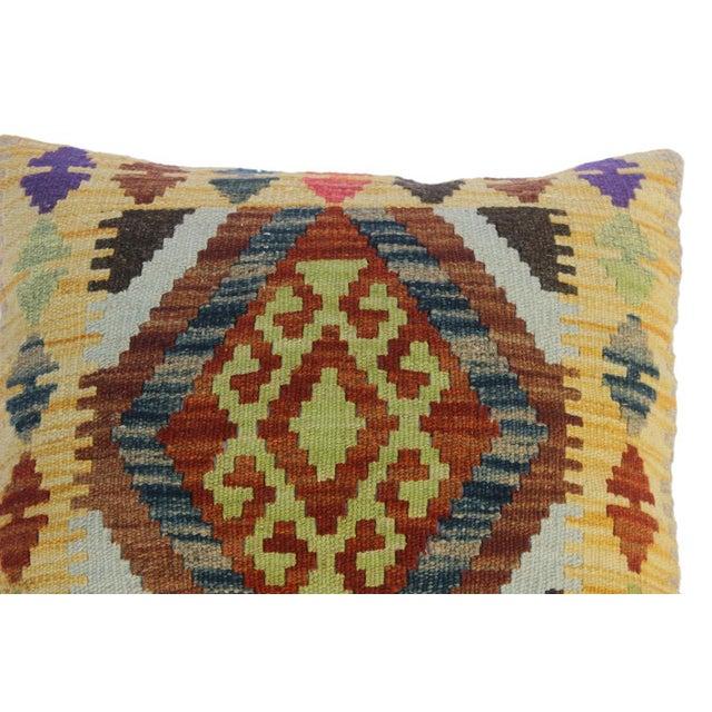 "Christi Gold/Brown Hand-Woven Kilim Throw Pillow(18""x18"") For Sale - Image 4 of 6"