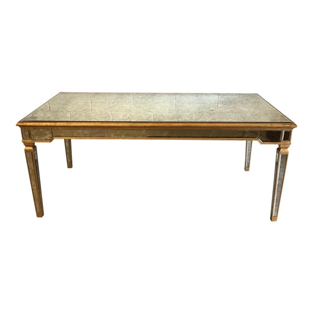 Antiqued Mirrored Dining Table With Gold Leaf Trim For Sale