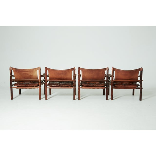 Brown Rare Set of Four Arne Norell Safari Sirocco Chairs, Sweden, 1960s For Sale - Image 8 of 13