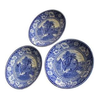 "W.R. Midwinter LTD ""Rural England"" Blue Saucers - Set of 3 For Sale"