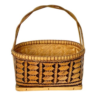 Vintage Patterned Basket For Sale