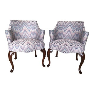Hickory Chair Flame Stitch Accent Arm Chairs - A Pair