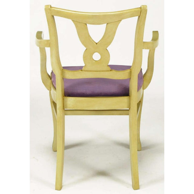 Six Ivory Glazed Regency Dining Armchairs For Sale In Chicago - Image 6 of 9